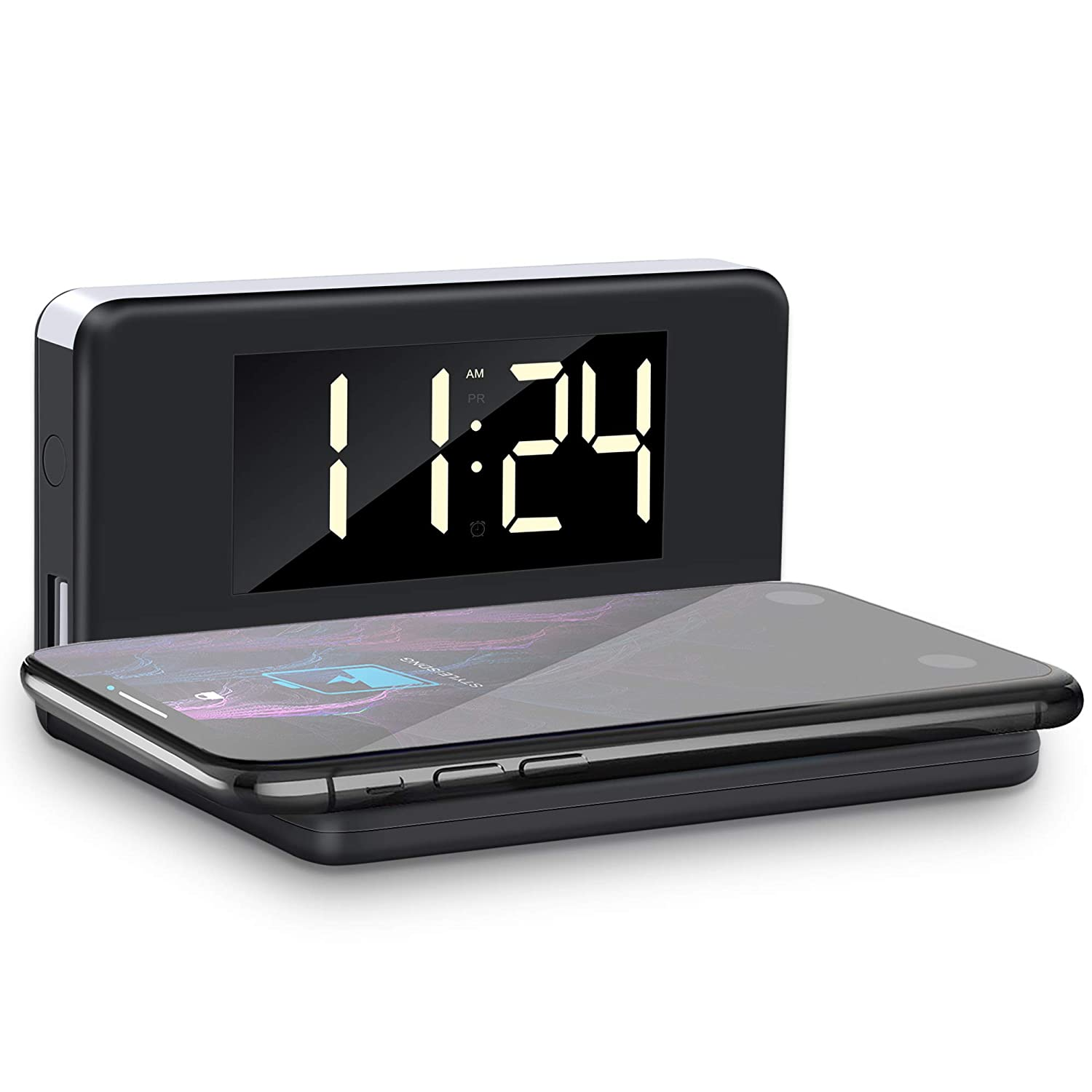Digital Alarm Clock with Wireless Charger, YPLANG Digital Alarm Clock with Adjustable Brightness, Ringtones, Bedside Alarm Clocks with Snooze for ...