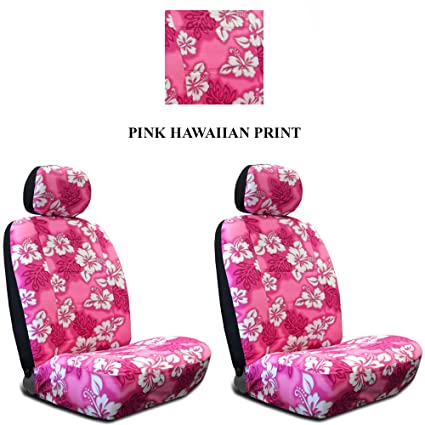 Pink Hawaiian Hawaii Aloha Print With White Hibiscus Flowers Wild Series 2PC Car Truck SUV