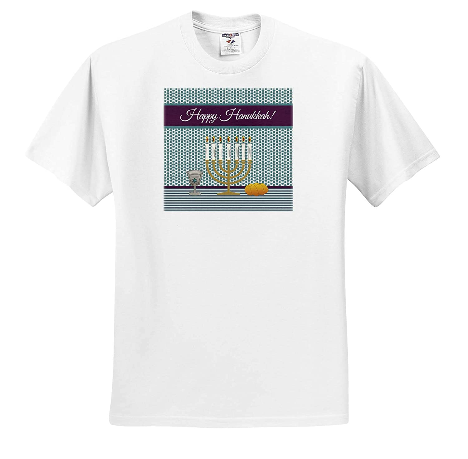 3dRose Beverly Turner Hanukkah Design Lighted Candles T-Shirts Star of David on Kiddush Cup Menorah Challah Bread