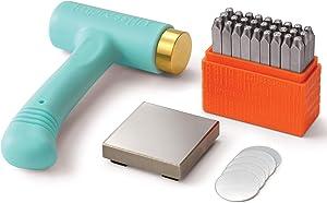 ImpressArt Metal Stamping Kit for Jewelry Making - Basic Uppercase (3MM), Ergo-Angle Hammer, Steel Bench Block, Stamping Blanks