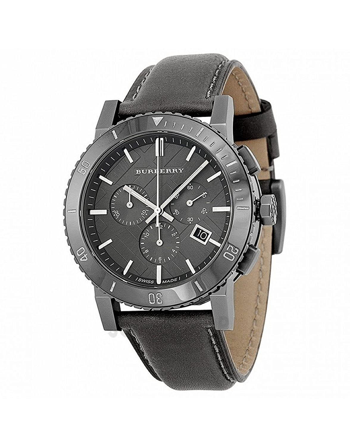 Amazon Com Burberry Chronograph Grey Dial Grey Leather Mens Watch