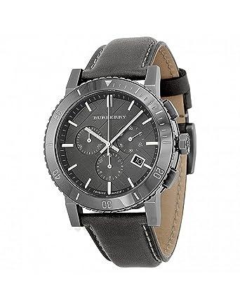 15fa0715779 Amazon.com  Burberry Chronograph Grey Dial Grey Leather Mens Watch ...