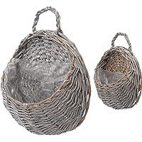 BESPORTBLE 2 PCS Handmade Woven Hanging Basket Wicker Handed Storage Basket Hanging Planter Basket for Home Garden…