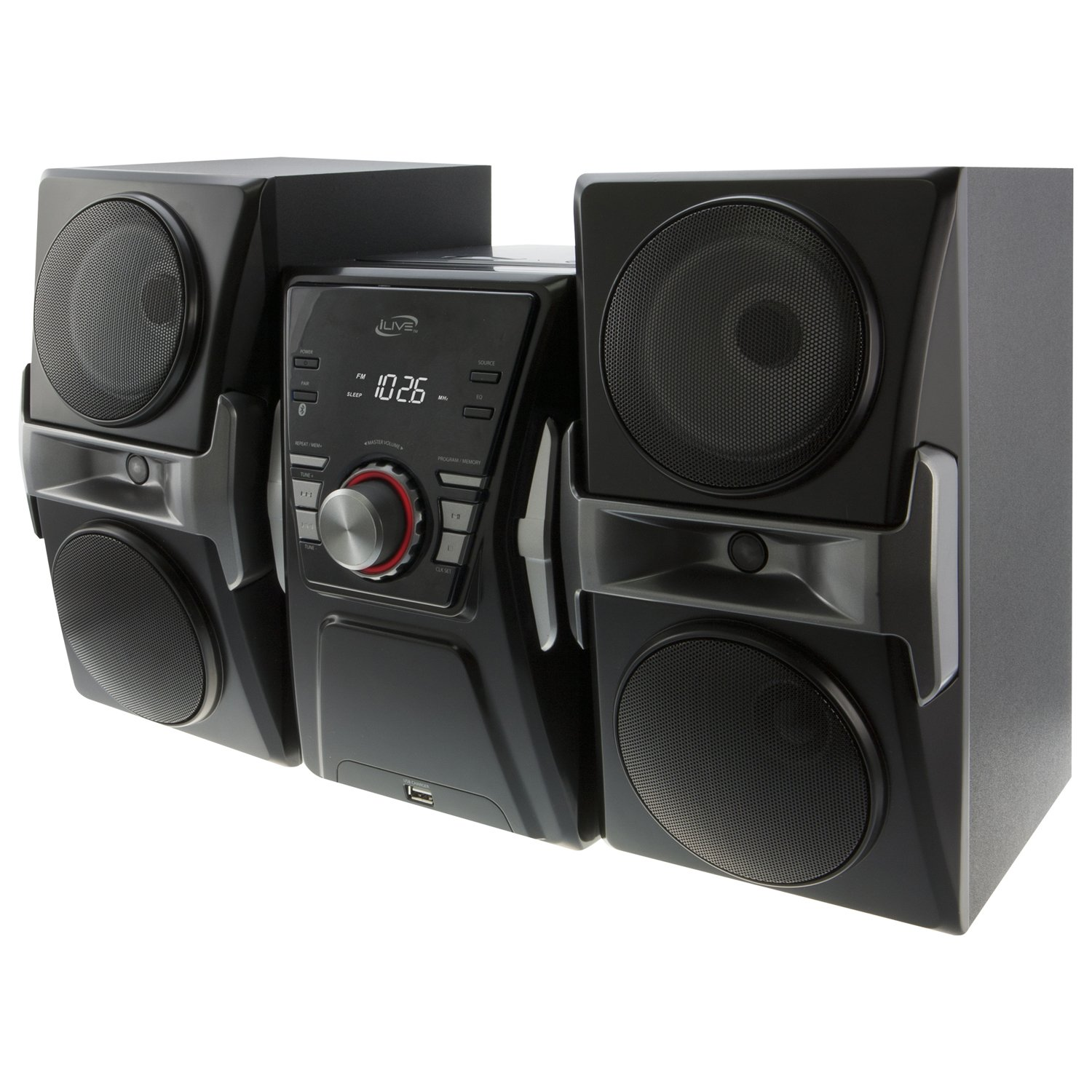 iLive IHB624B Bluetooth CD and Radio Home Music System with Color Changing Lights, Includes Remote, Black by iLive