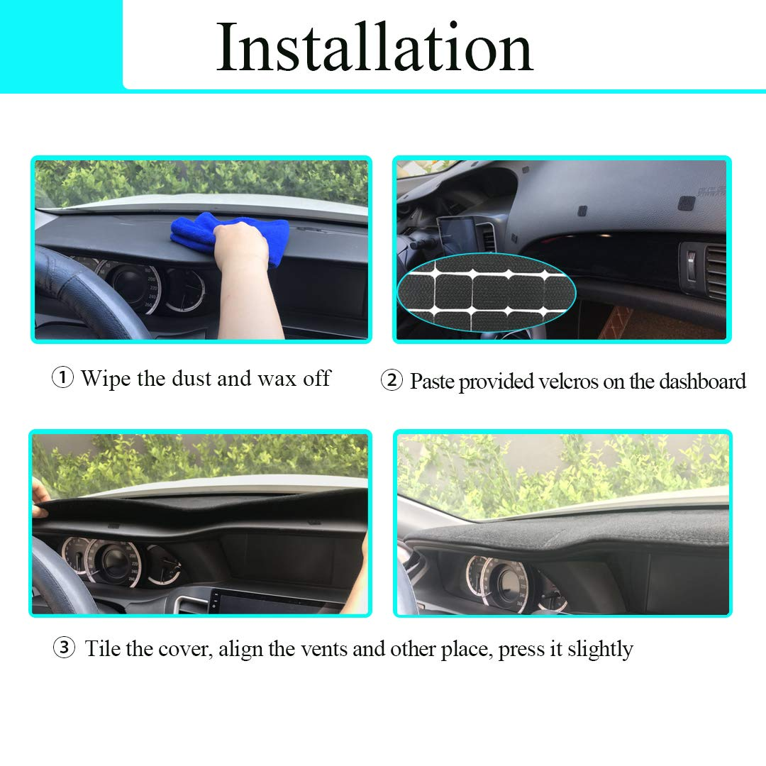 Black Z12 Yiz Dashboard Cover Dash Cover Mat Pad Custom Fit for Toyota Camry 2018 2019 no HUD