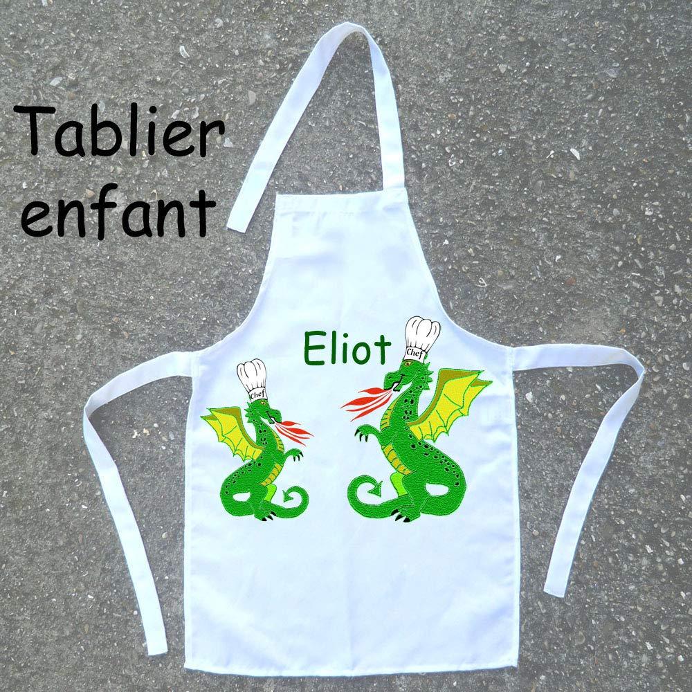 Tablier de cuisine enfant Dragon à personnaliser avec un Prénom (ex. Eliot)