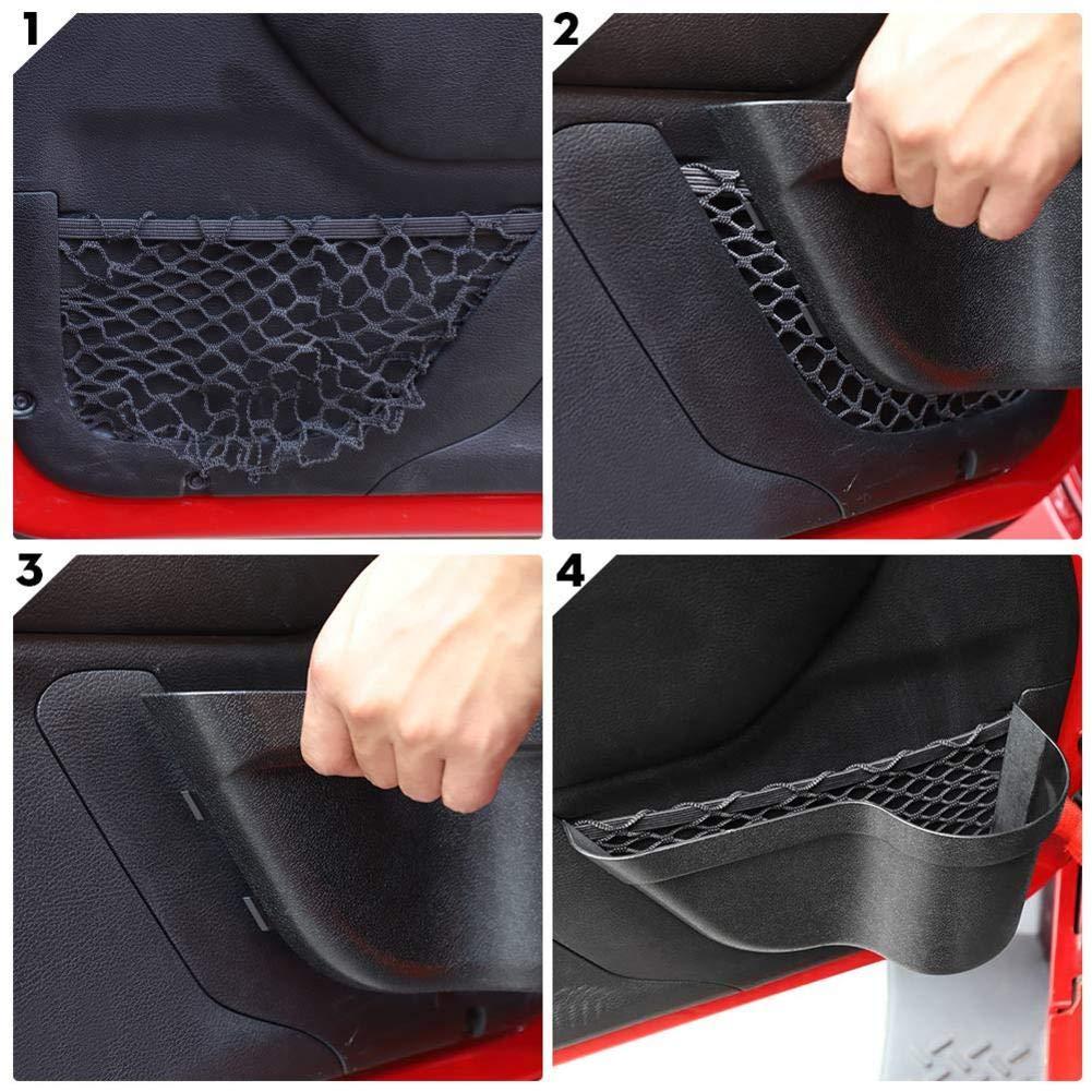 ningxiao586 2 ST/ÜCKE Auto Haust/ür Aufbewahrungstaschen Organizer Box Kompatibel mit 2011-2018 Jeep Wrangler JK JKU 2//4-t/ürig T/ürnetz Tasche Ersatz
