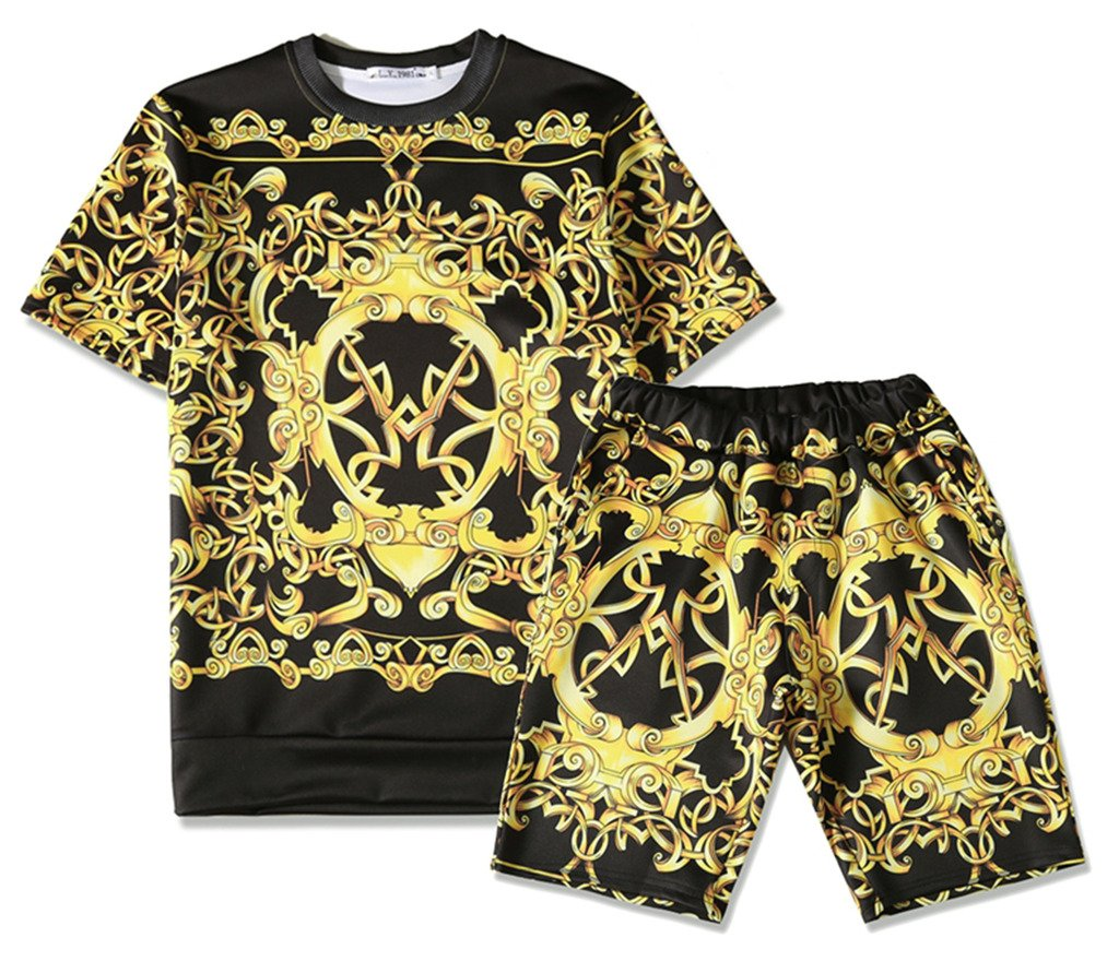 Pizoff Mens Short Sleeve Luxury Gold Baroque Print T-Shirt Shorts Sets Elastic Sport Lightweight Brand Design Y1817-09-S by Pizoff (Image #1)