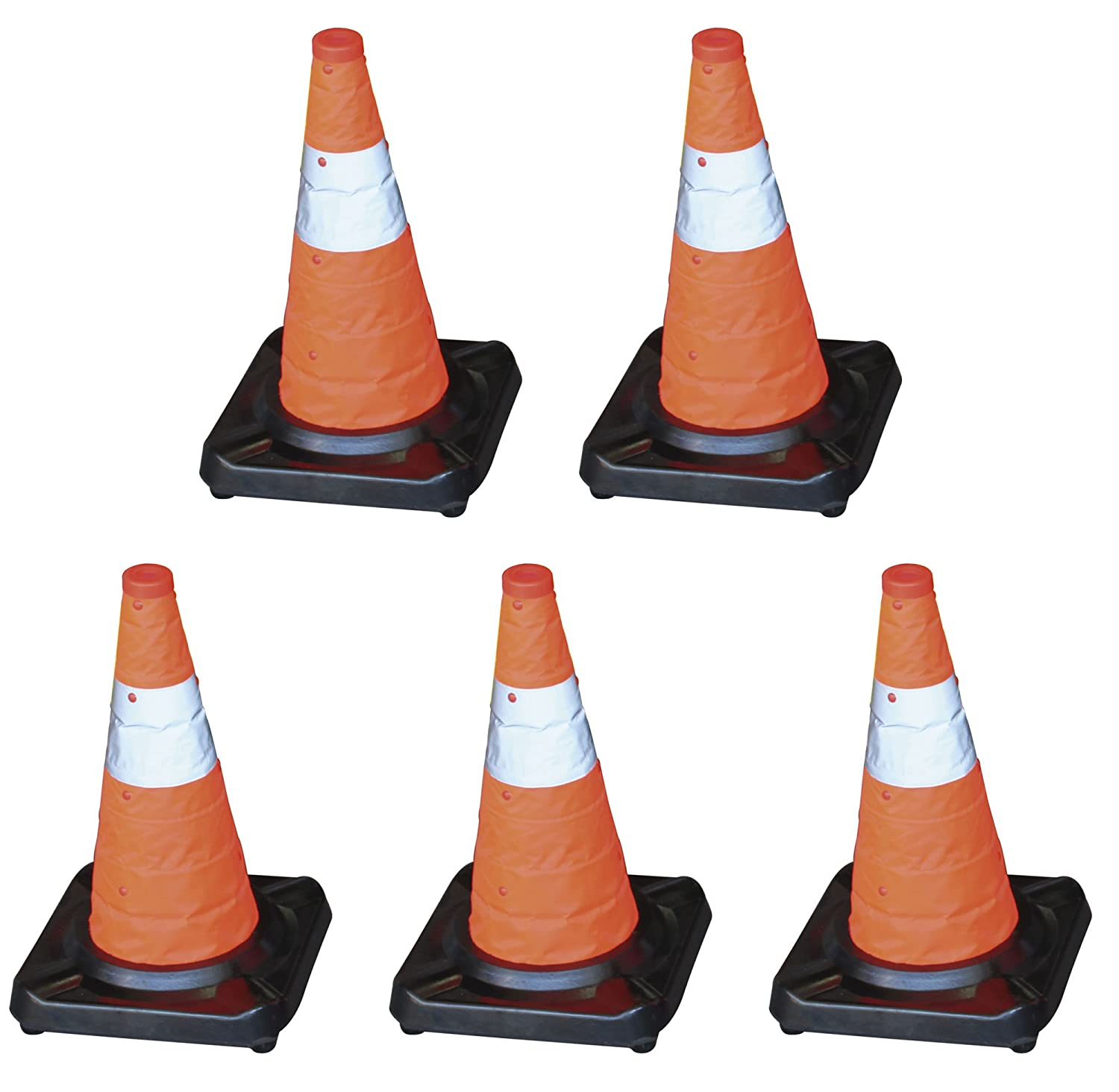 Adosa–Kit of 5Cones Folding Base Rubber + Fabric Reflective 45cm Height