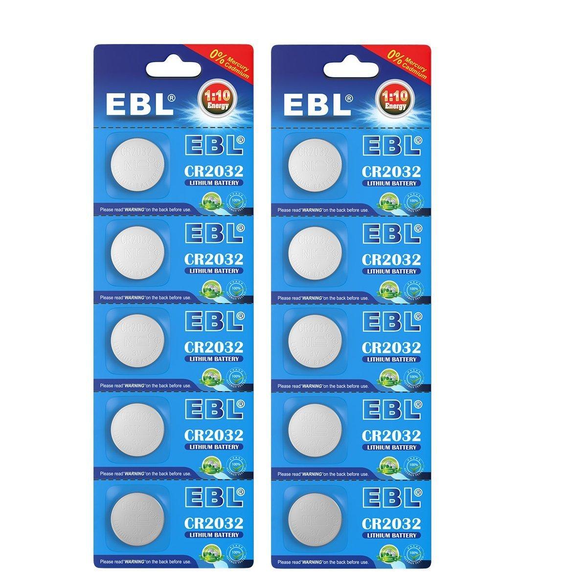 EBL 10 Unidades 3V CR2032 DL2032 ECR2032 Pilas Litio: Amazon.es ...