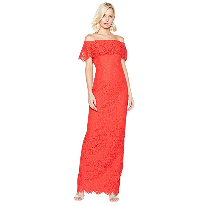 9398194cfdec Debut Womens Red Lace 'Brianna' Bardot Maxi Dress: Debut: Amazon.co ...