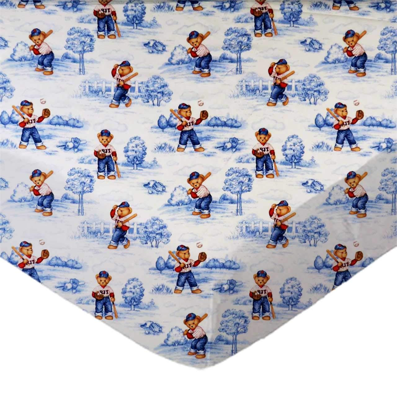 Made in USA SheetWorld Fitted 100/% Cotton Percale Portable Mini Crib Sheet 24 x 38 All Star Toile