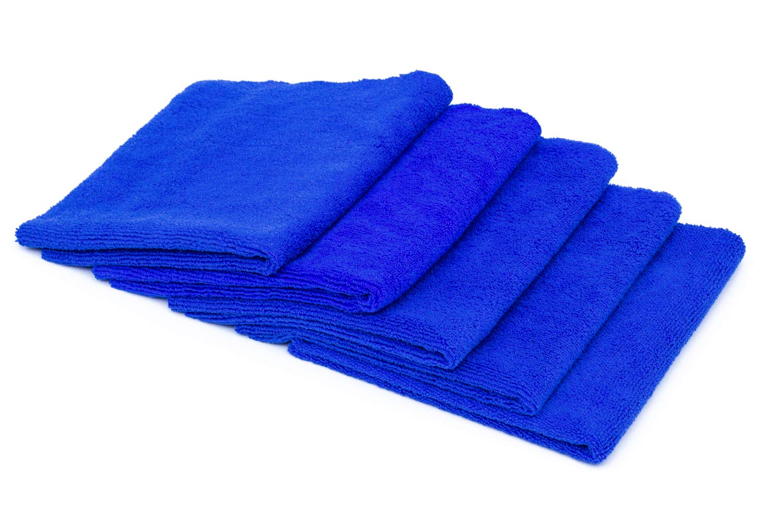 THE RAG COMPANY (5-Pack) 16 in. x 16 in. Professional EDGELESS 365 GSM Premium 70/30 Blend Microfiber POLISHING, Wax Removal and AUTO Detailing Towels (16x16, Royal Blue) 51616-EL-365