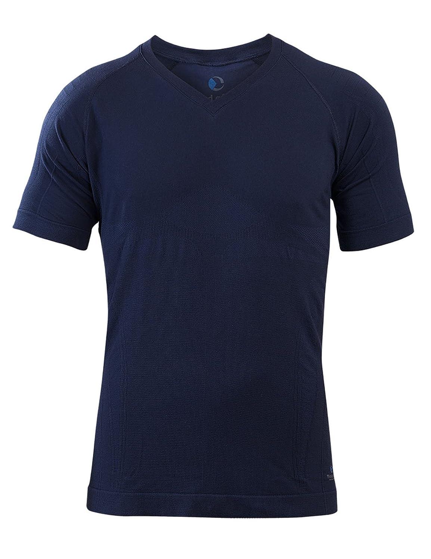Sleepshirt AVIOR Herren Schlaf-Shirt Kurzarm Oberteil Seamless – ohne störende Nähte   dreimal Weißher als Baumwolle Thermoregulierende und Atmungsaktive Funktions-Nachtwäsche Nachtblau
