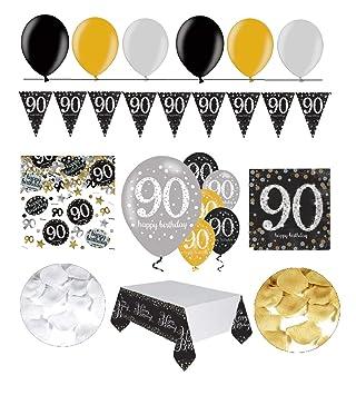 Partyset 20 Geburtstag GOLD Deko Ballon Wimpelkette Konfetti Girlande Partydeko