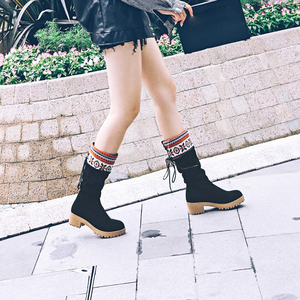 WOCACHI Boots for Womens Womens Middle Tube Boots Retro Lace-Up Short Boots Ranch Ladies Shoes Booties