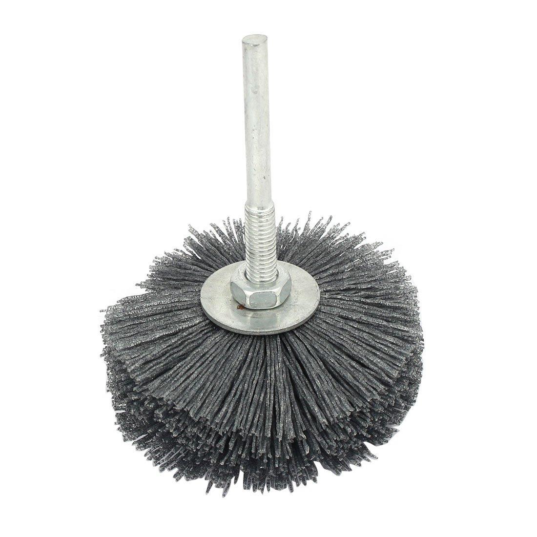 uxcell 6mm Shank 80mm Dia Head 320 Grit Abrasive Wheel Brush Grinding Tool Gray