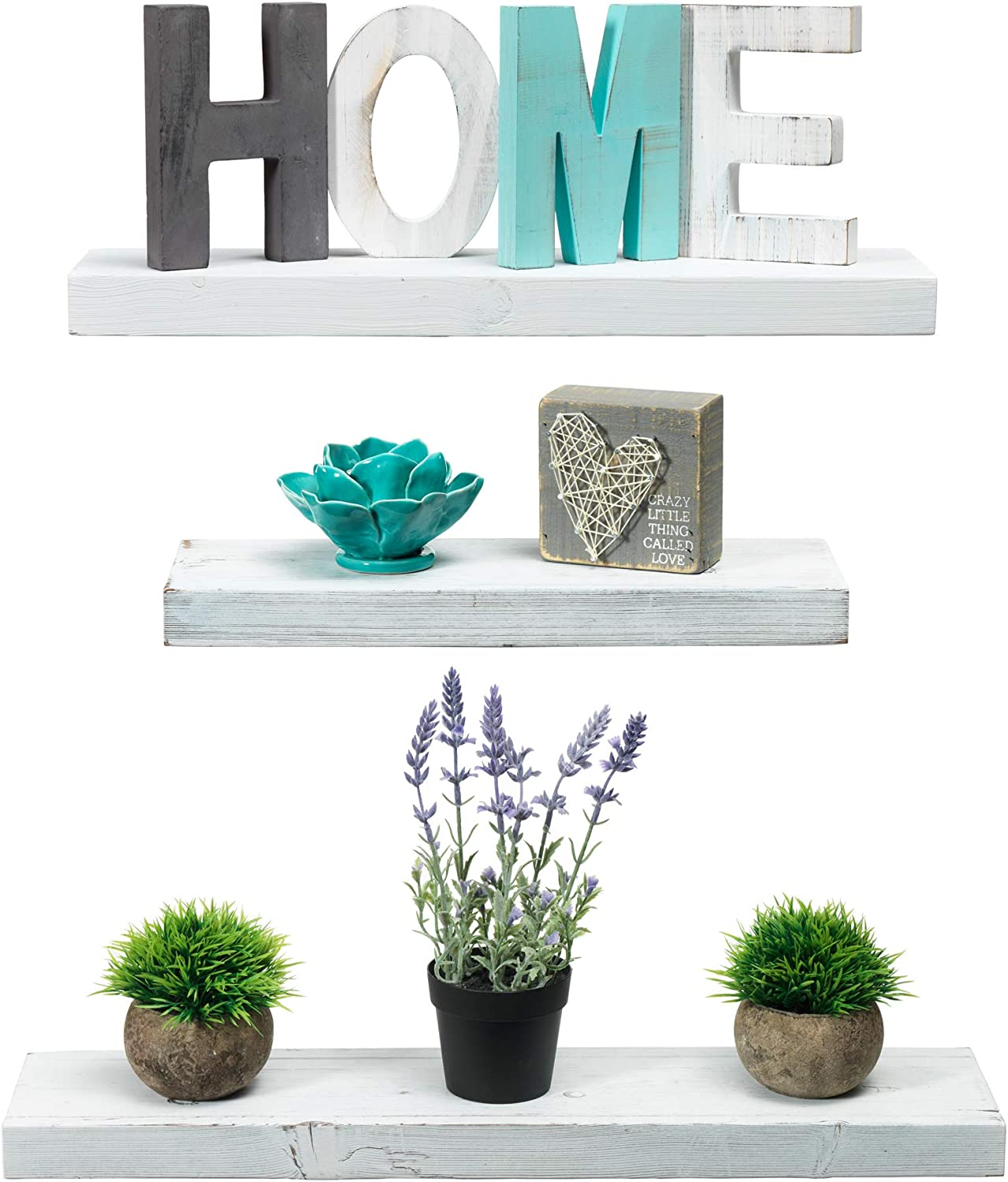 Rustic Farmhouse 3 Tier Floating Wood Shelf - Floating Wall Shelves (Set of 3), Hardware and Fasteners Included (White, 3 Tier)