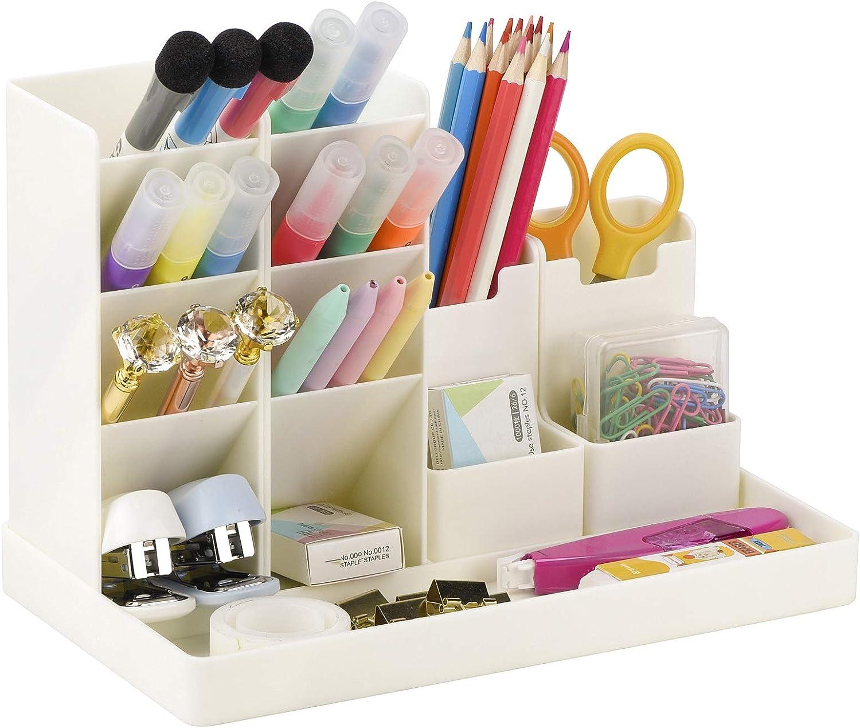 Cute Vertical Pen Organizer, Kawaii Desk Organizer Pen Holder Stationery, Marker Pencil Storage Caddy Tray for Office, School, Home & Art Supplies - White