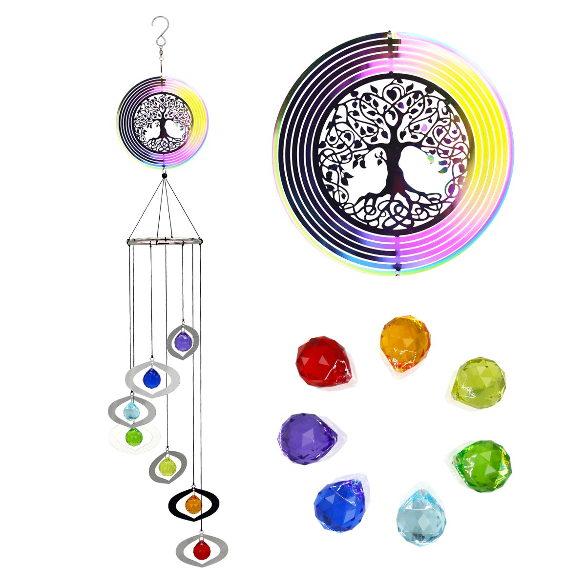Astarin Wind Spinners Outdoor Hanging,3D Kinetic Metal Lifetree Wind spinners Wind Chimes with 7 Colorful Pendants, Great Decoration of Home, Garden, Patio and Yard, Perfect Housewarming Gift
