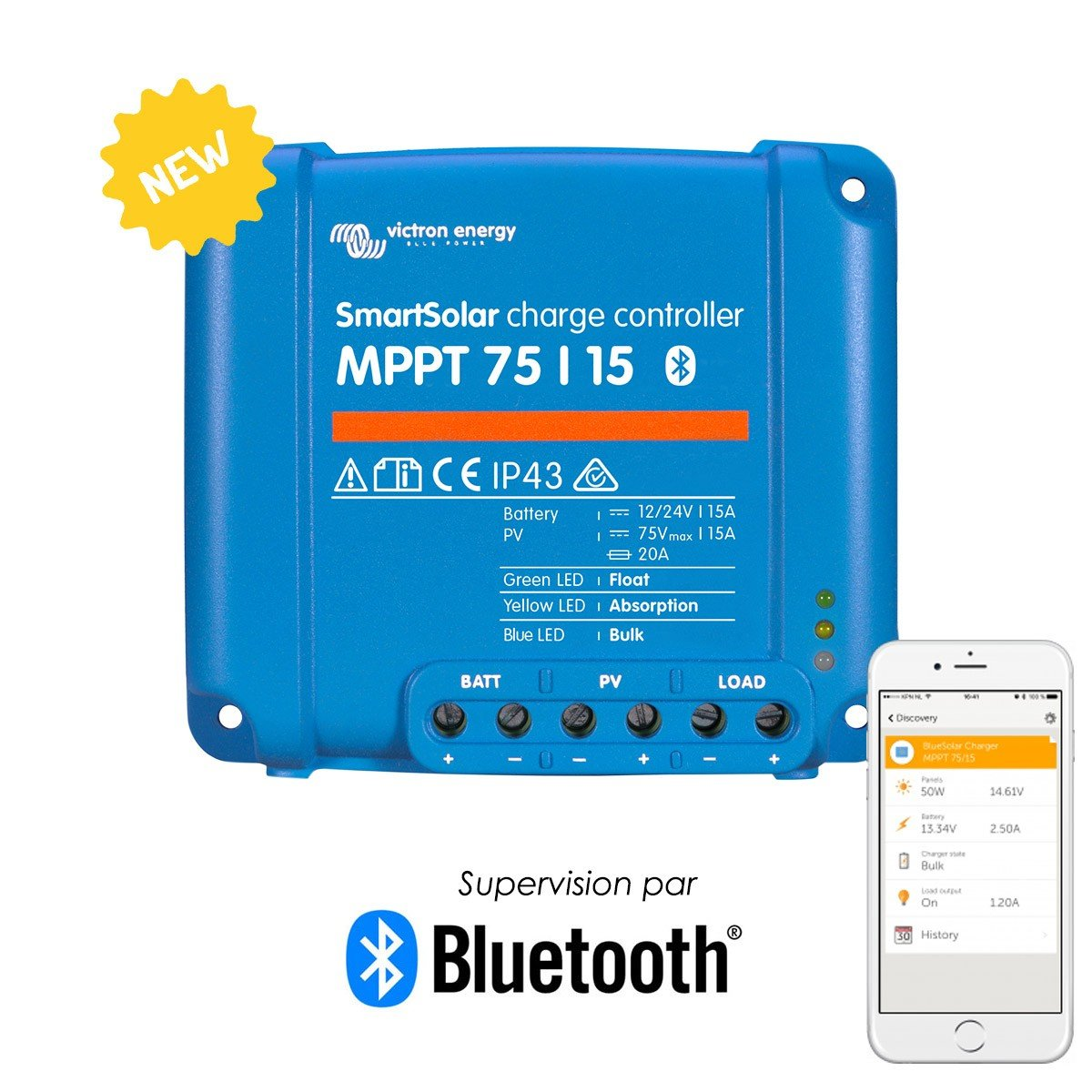 Victron SmartSolar Charge Controller with Built-In Bluetooth – MPPT 75/15 – 75 Volts, 15 Amps by Victron