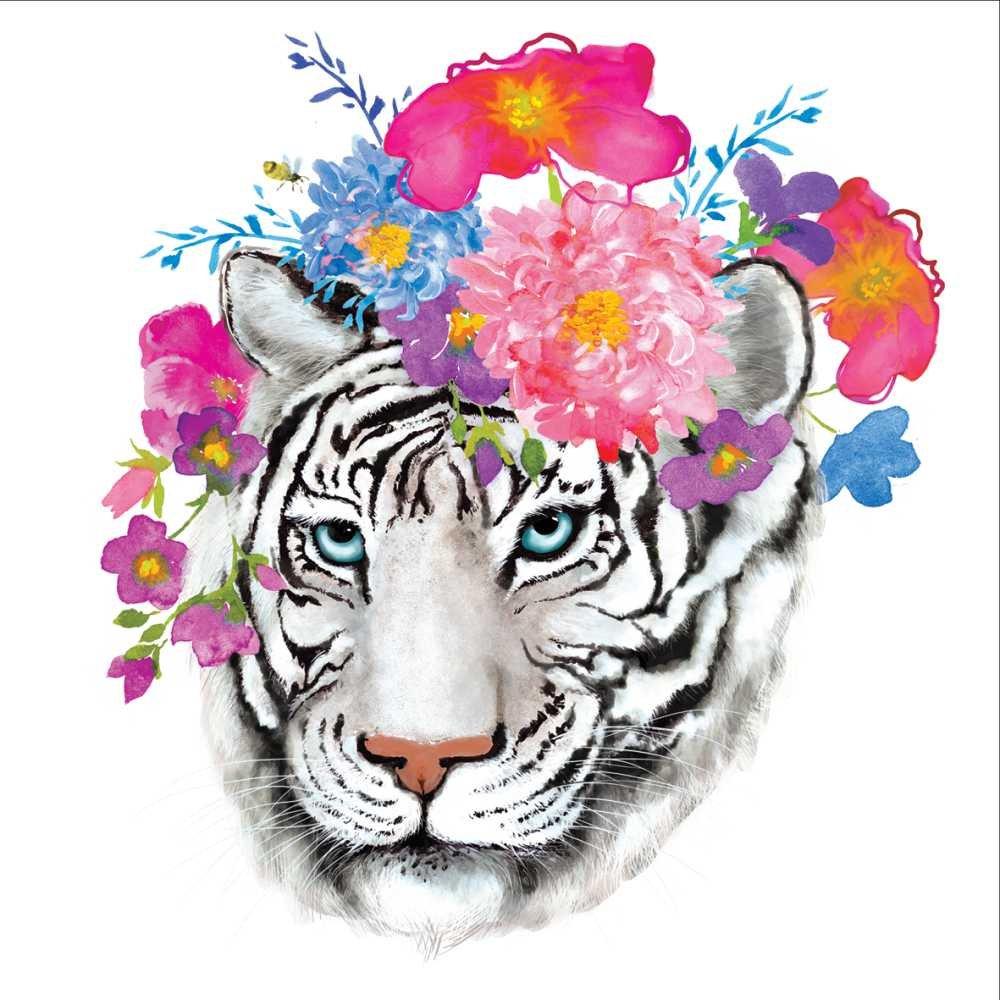 Multicolor Paperproducts Design PPD 1252747 Flora Tiger Beverage//Cocktail Paper Napkins,5x5