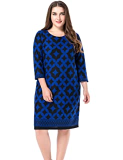 544da666a83 Chicwe Women s Plus Size Cashmere Touch Printed Shift Dress - Knee Length  Work and Casual Dress