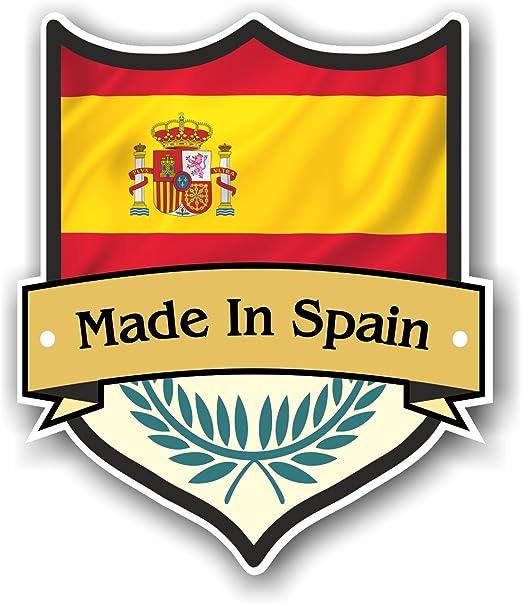 Fabricado en España diseño de escudo con español Bandera de País para moto caravana, coche Adhesivo (100 x 85: Amazon.es: Coche y moto