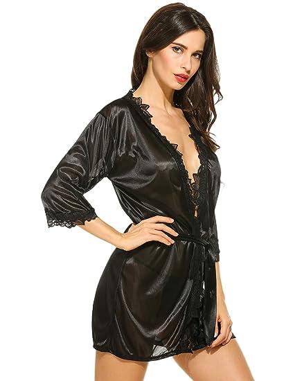 Bifast Women Lace Kimono Robe Babydoll Nightgown Chemise Sexy Lingerie  G-String f4e6b4dbf