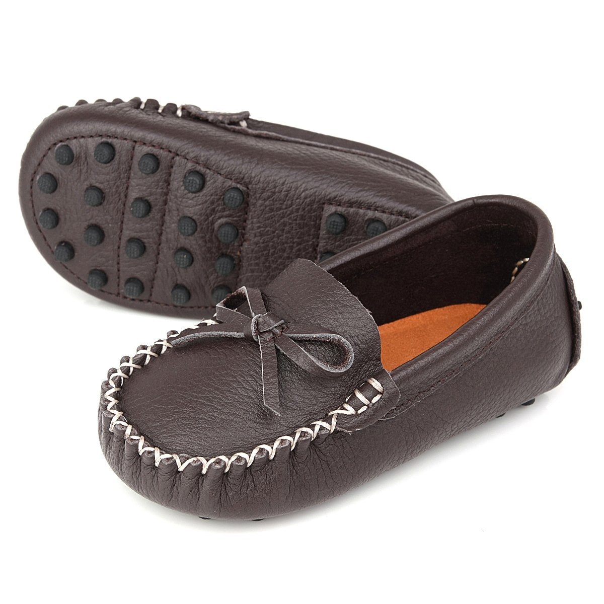 Augusta Baby Leather Loafers Boat Shoes Slip-on Moccasins with Gommino Sole - Safety Certified Genuine Leather - Chocolate - US Toddler 7