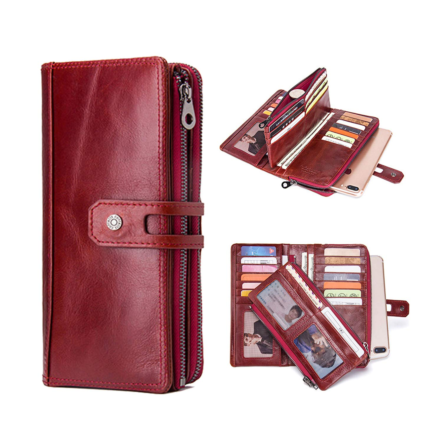 Samsung S9 Plus Wallet,Handmade Genuine Leather Women's Wallets Bifold Pockets and Snap Fastener Card Cases Wallets Long Double Zip Bag Purse Red