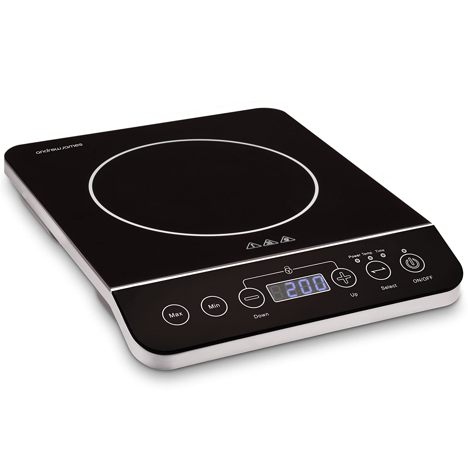 Andrew James Induction Hob | Single Portable 13amp Electric Cooker with Auto Switch-Off & Blue LED Display