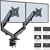 "1home Full Motion Height Adjustable Ergonomic Counter-Balance Gas Powered Dual Twin Arms Desk Mount Stand for 13""-27"" LCD Monitors Tilt Swivel 
