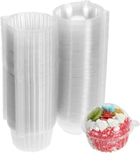 Bekith 200 Pack Individual Cupcake Container, Plastic Clear Single Compartment Cupmake Muffin Dome Holder Carrier Box Case, BPA-Free