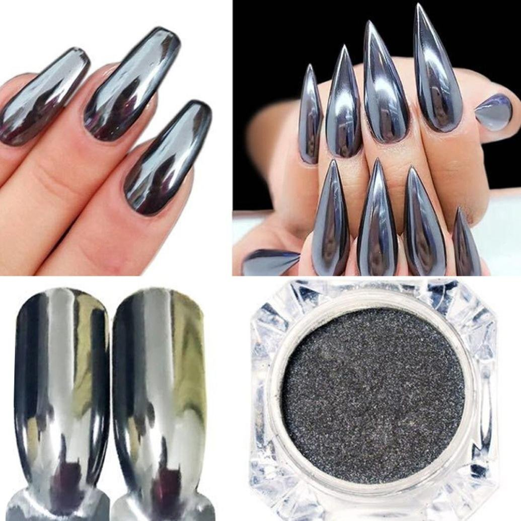 Amazon.com: 12 pack Chrome Mirror Nail Powder with Smooth Shimmer ...