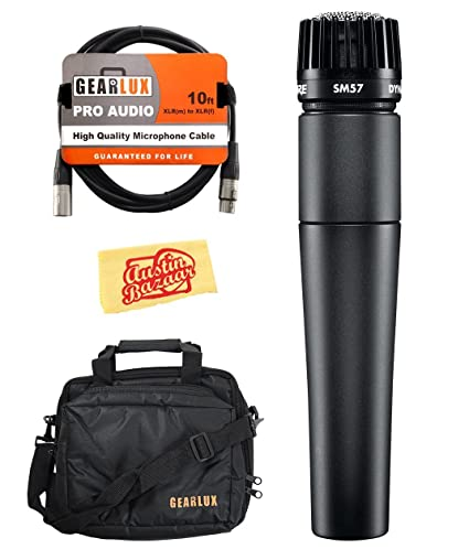 Shure SM57-LC Cardioid Dynamic Instrument Microphone Bundle with Gear Bag,  XLR Cable, and Austin Bazaar Polishing Cloth