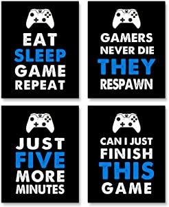 Video Game Posters,Gaming Wall Art for Kids Boy Playroom Home Decor,Xbox Controller,Boy Room Decor (Set of 4, 8X10in, Unframed) (black)