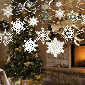kingleder 36 Pieces Christmas Snowflake Hanging Swirls, Assorted Patterns Ceilings Snowflake Ornaments for Xmas Holiday New Year Party Decoration