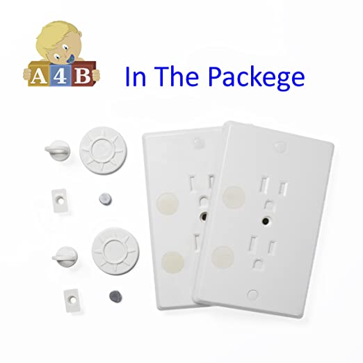 Childproof Outlet Covers - Locking Plug Cover Baby Proofs Your Entire Home - Socket Protectors Guards Against Household Dangers - Child Safe Outlet Plugs Plus Magnetic Key 2 Pack by All4Baby