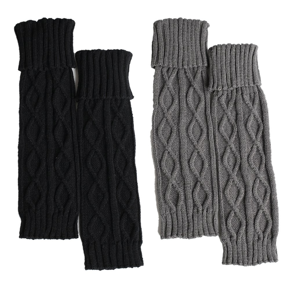 2pack (Black+neutral Grey) MizuAmor Women Knee High Boot Cuffs Crochet Leg Warmers Knitted Boot Socks