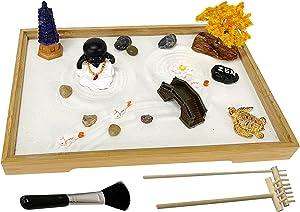 Japanese Zen Garden Kit for Desk Mini Meditation Zen Sand Garden Table Decor with Larger Bamboo Tray 11x7.5 Inches Desktop Zen Garden Accessory with Buddha Pagoda Sand River Rock Rake Tool Set
