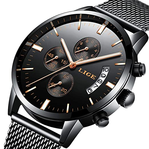 fb8f649dac4a3 Watch Men's Watches Fashion Casual Design Waterproof Quartz Analog Calendar  Stainless Steel Wrist Watch for Man