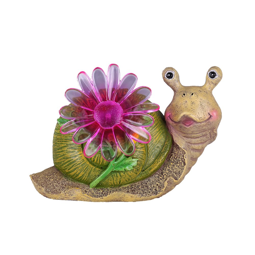 Hannah's cottage Snail Garden Statue with Solar Powered Lights, Polyresin Outdoor figurine Deor for Outdoor Yard Decoration (Outdoor Paradise) by Hannah's cottage