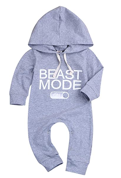 KONIGHT Infant Baby Boys Sleeveless Romper Beast Mode Funny Saying Letter  Jumpsuit Summer Outfit Clothes 20e43e1c30e