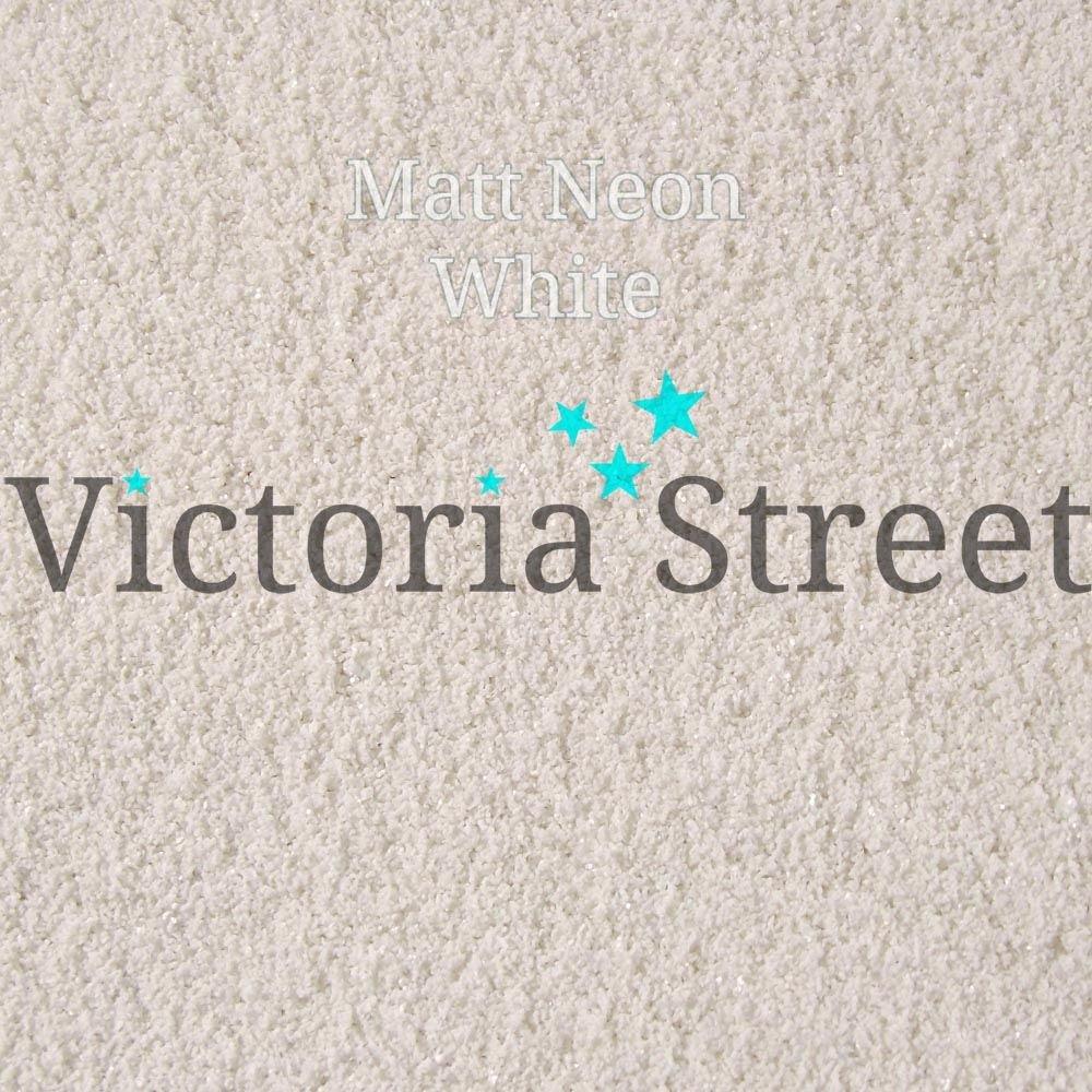 Victoria calle con purpurina – neón blanco mate brillante color blanco neón – fina 0,008