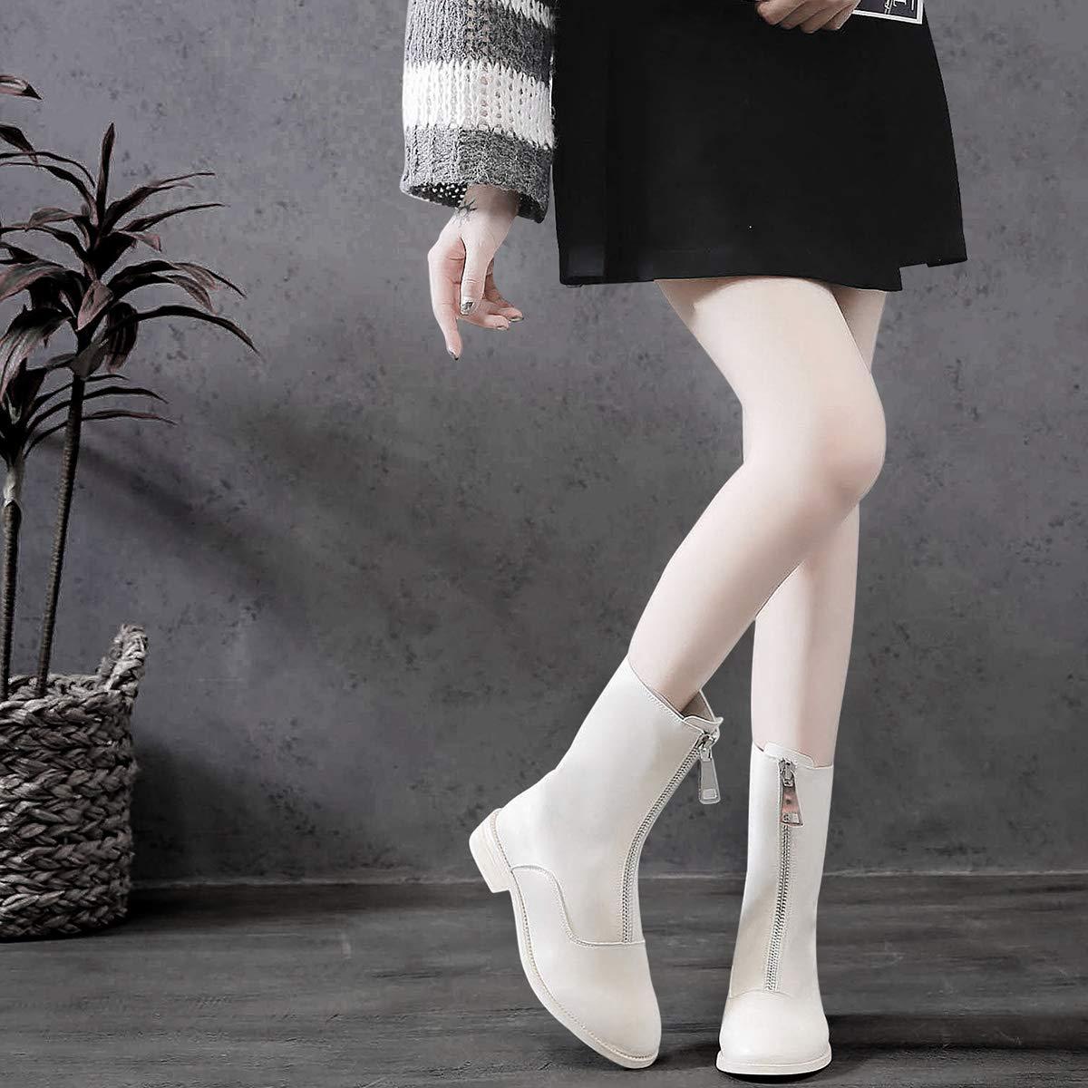 Shukun Stiefeletten Martin Stiefel Frauen Stiefelies Herbst Studenten Wild Front Reißverschluss weißen Stiefeln