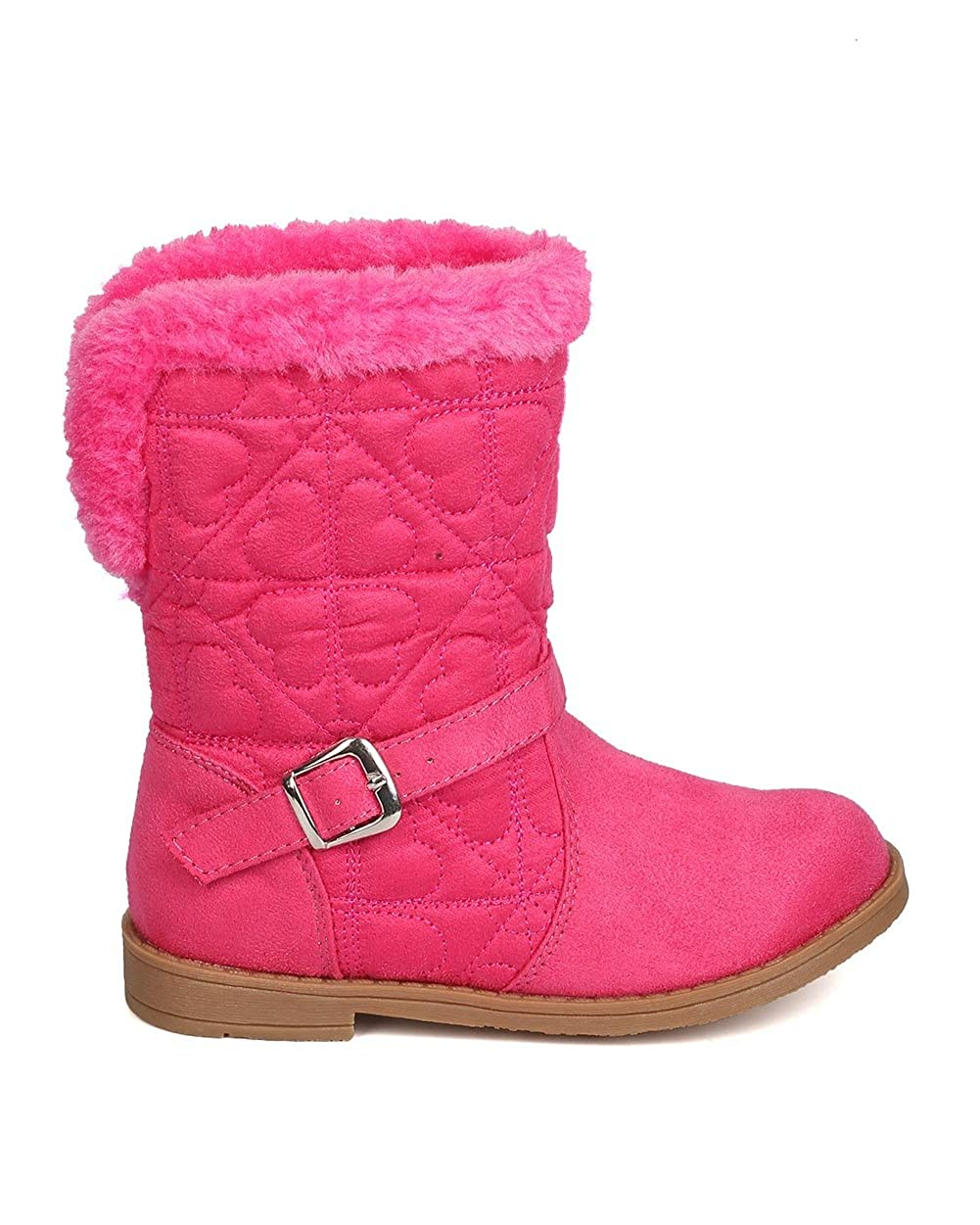 Pink Little Angel Girls Quilted Hearts Suede Fur Riding Winter Boot FG02
