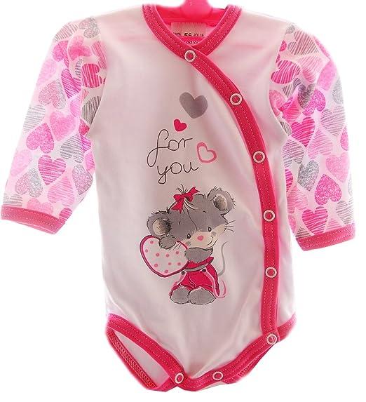 ed6c943b88 La Bortini Baby Body Wickelbody Weiß Pink Maus 56 62 68 74 Baumwolle (56)