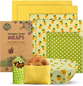 Eco Meeko Reusable Beeswax Wrap - Assorted Set Of 6 Sustainable Beeswax Wraps For Food - Eco Friendly Bees Wrap Reusable Food Wrap - Zero Waste Beeswax Reusable Food Wraps