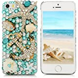 iPhone SE Case,iPhone 5S,iPhone 5 Case - Mavis's Diary 3D Handmade Blue Ocean Series Full Diamonds Bling Crystal Golden Anchor Starfish Cute Shells Design Clear Hard PC Cover for iPhone SE/5S/5